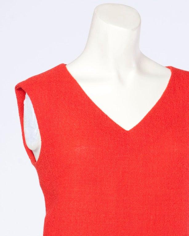 Christian Dior Vintage 1960s 60s Red-Orange Skirt + Jacket + Top 3-Piece Suit Set For Sale 3