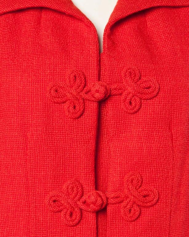 Christian Dior Vintage 1960s 60s Red-Orange Skirt + Jacket + Top 3-Piece Suit Set For Sale 4