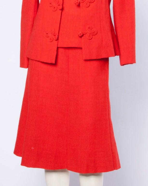 Christian Dior Vintage 1960s 60s Red-Orange Skirt + Jacket + Top 3-Piece Suit Set For Sale 5