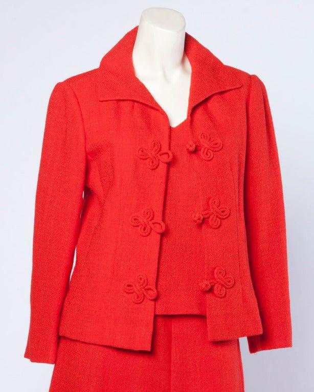 Christian Dior Vintage 1960s 60s Red-Orange Skirt + Jacket + Top 3-Piece Suit Set For Sale 6
