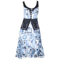 Moschino Cheap & Chic Blue Abstract Print Silk Dress with Ric Rac Trim