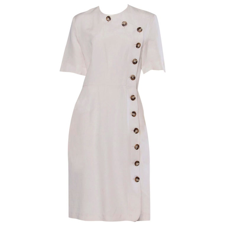 Jacques Heim Paris Vintage 1960s 60s Asymmetric Cream Linen Sheath Dress 1