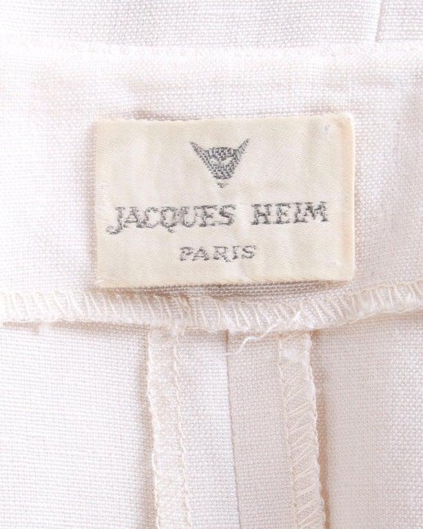 Jacques Heim Paris Vintage 1960s 60s Asymmetric Cream Linen Sheath Dress 2