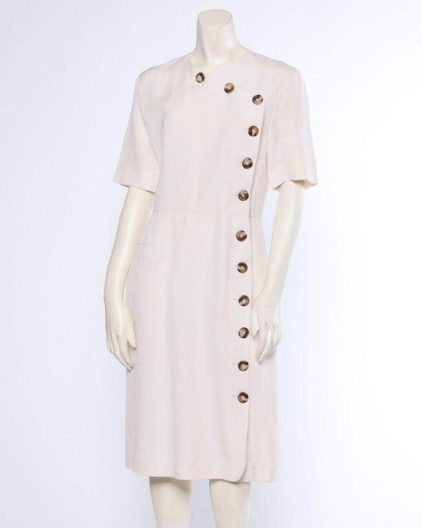 Jacques Heim Paris Vintage 1960s 60s Asymmetric Cream Linen Sheath Dress 3