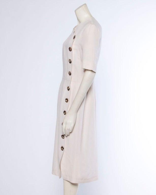 Jacques Heim Paris Vintage 1960s 60s Asymmetric Cream Linen Sheath Dress 4