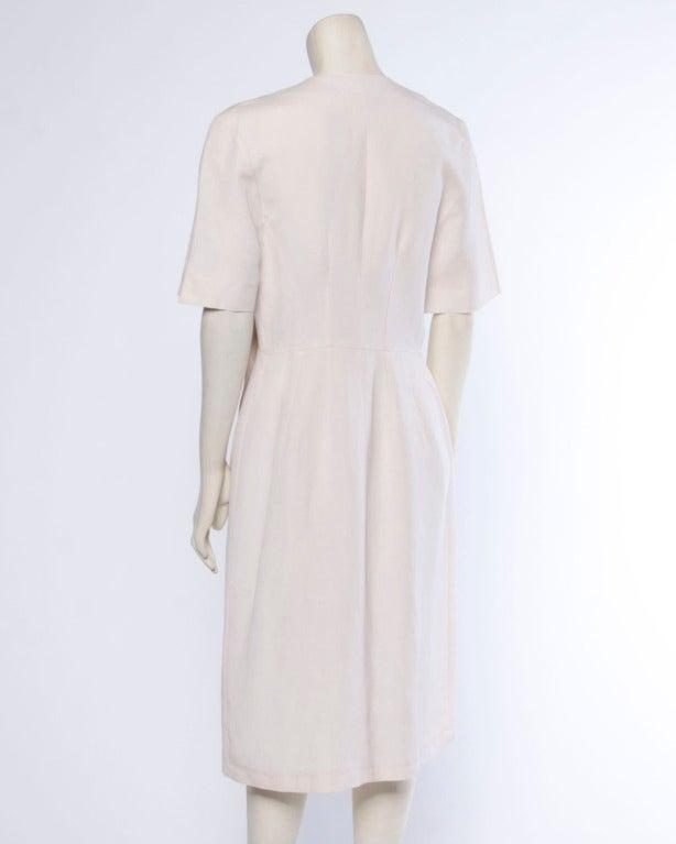Jacques Heim Paris Vintage 1960s 60s Asymmetric Cream Linen Sheath Dress 5