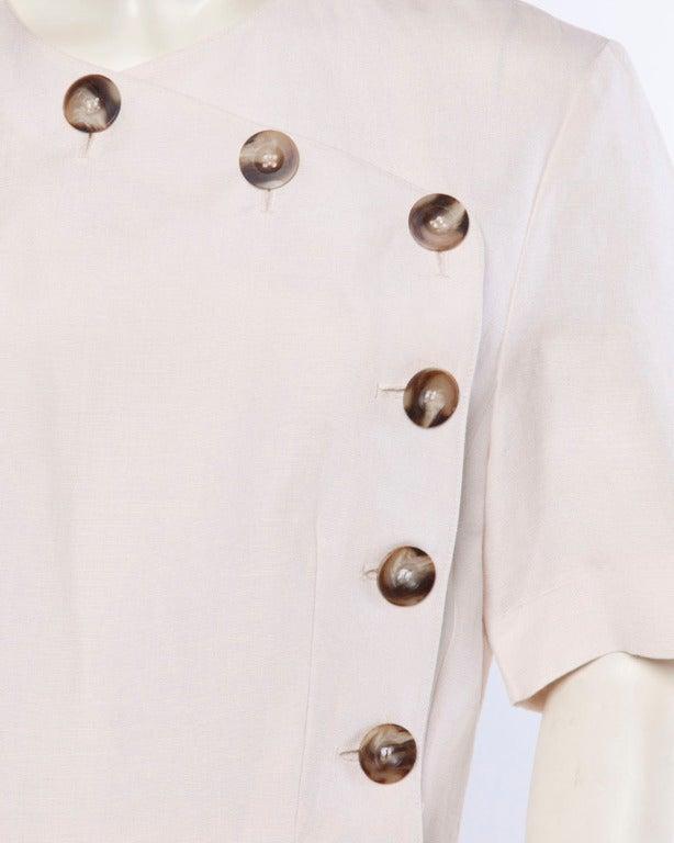 Jacques Heim Paris Vintage 1960s 60s Asymmetric Cream Linen Sheath Dress 6