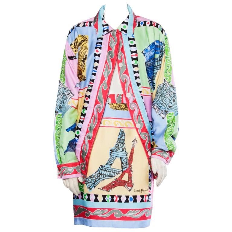 Louis Feraud Set Vintage 1990s 90s Silk Scarf Print 2-Piece Jacket + Skirt Suit For Sale