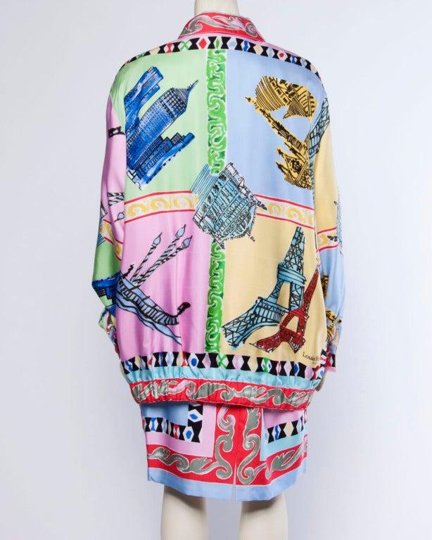 Louis Feraud Set Vintage 1990s 90s Silk Scarf Print 2-Piece Jacket + Skirt Suit For Sale 1