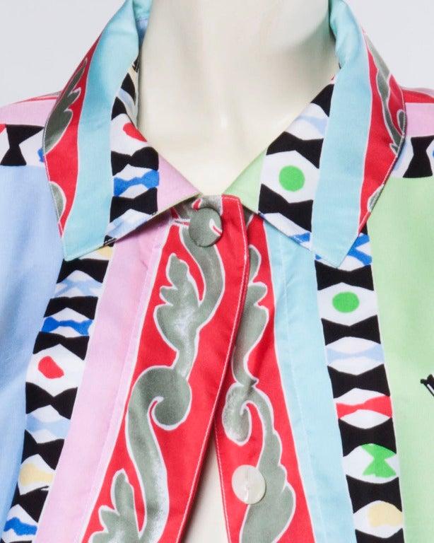 Louis Feraud Set Vintage 1990s 90s Silk Scarf Print 2-Piece Jacket + Skirt Suit For Sale 3