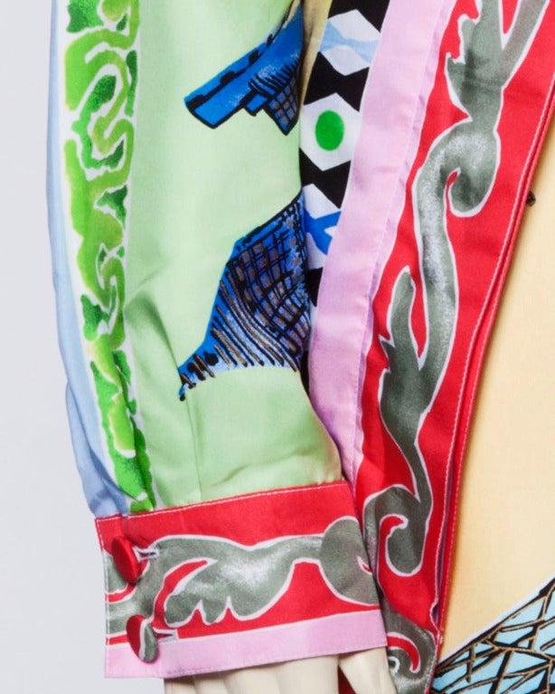 Louis Feraud Set Vintage 1990s 90s Silk Scarf Print 2-Piece Jacket + Skirt Suit For Sale 4