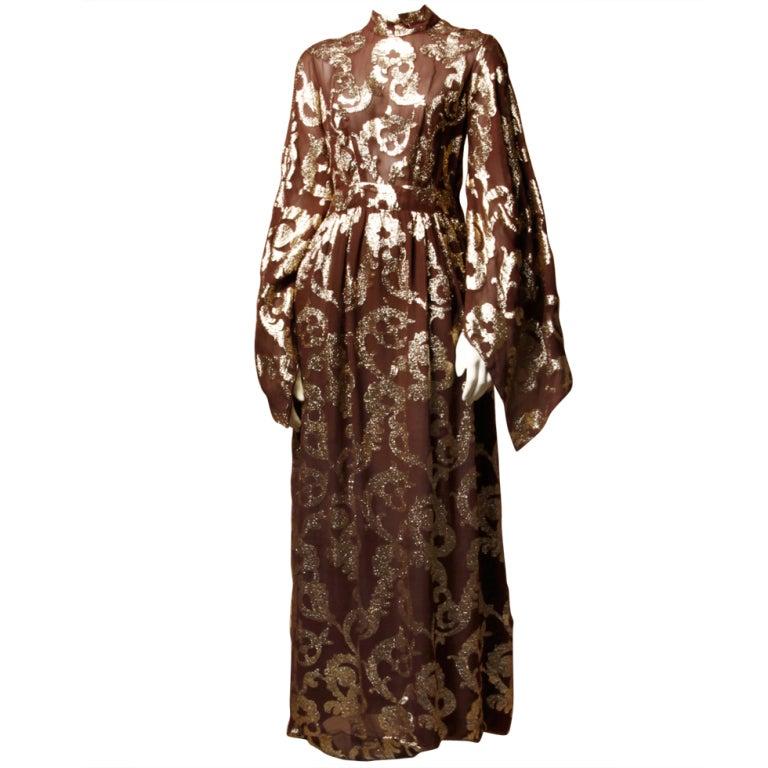 Vintage Pauline Trigere / Saks 5th Ave Metallic Silk Maxi Dress