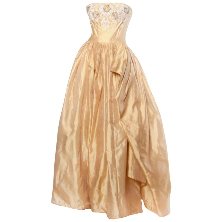Vintage 1950s 50s Strapless Gold Silk Beaded Formal Gown Dress by Kay Selig For Sale