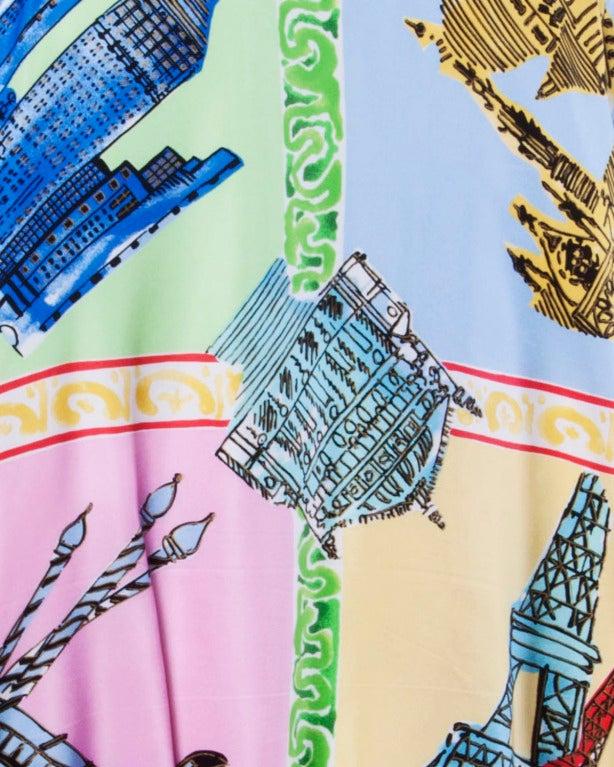 Louis Feraud Set Vintage 1990s 90s Silk Scarf Print 2-Piece Jacket + Skirt Suit For Sale 5