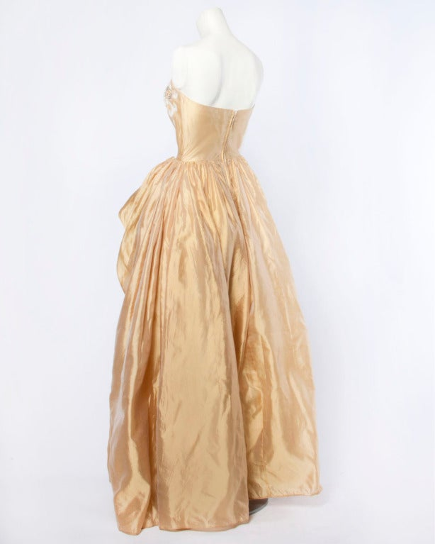 Vintage 1950s 50s Strapless Gold Silk Beaded Formal Gown Dress by Kay Selig In Excellent Condition For Sale In Sparks, NV