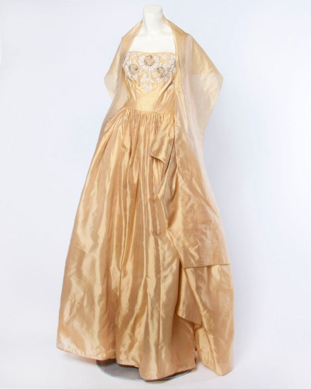 Vintage 1950s 50s Strapless Gold Silk Beaded Formal Gown Dress by Kay Selig For Sale 1