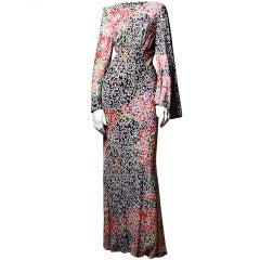 Vintage Pauline Trigere 1970's Rhinestone Bias Cut Maxi Dress