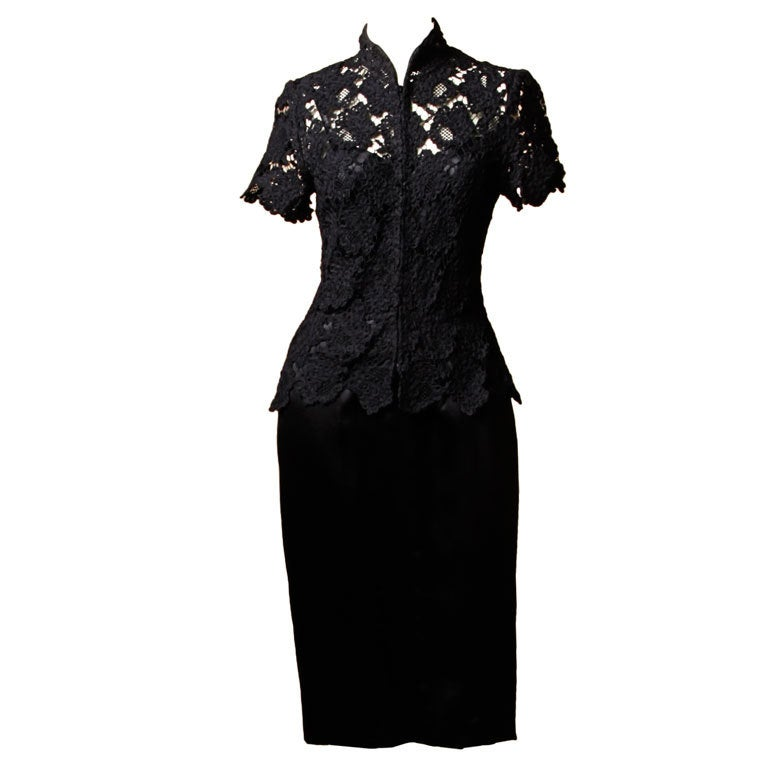 Chanel Black Silk Dress + Lace Jacket Set 1