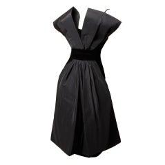 Vintage Suzy Perette 1950's Black Velvet + Silk Cocktail Dress