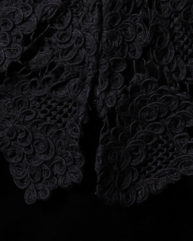 Chanel Black Silk Dress + Lace Jacket Set 10