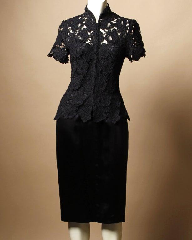 Chanel Black Silk Dress + Lace Jacket Set 2