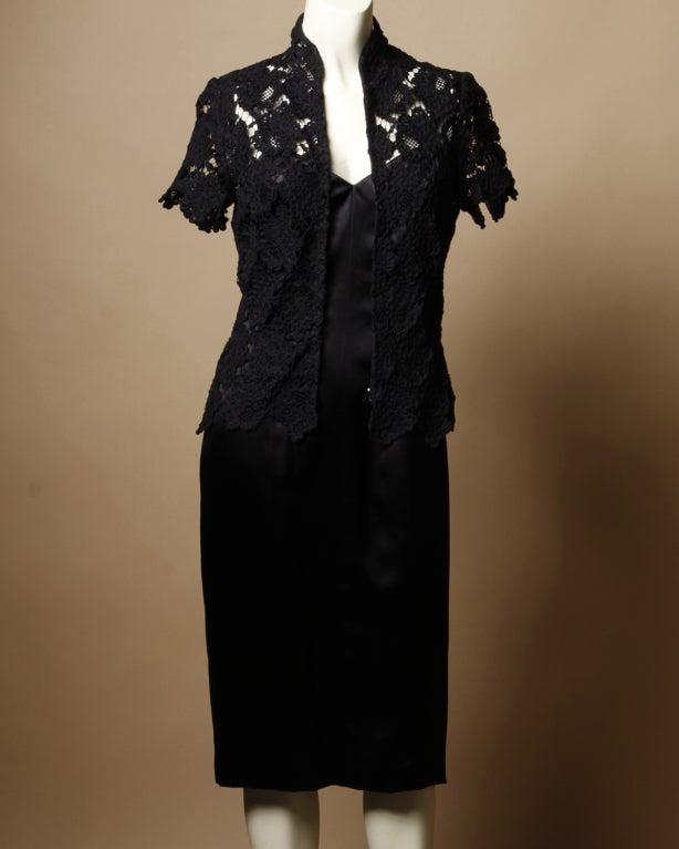 Chanel Black Silk Dress + Lace Jacket Set 3