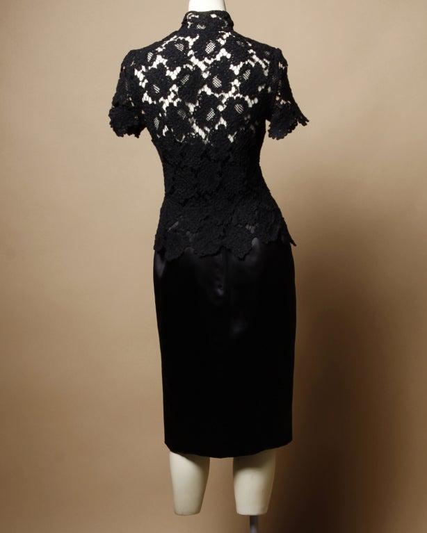 Chanel Black Silk Dress + Lace Jacket Set 7