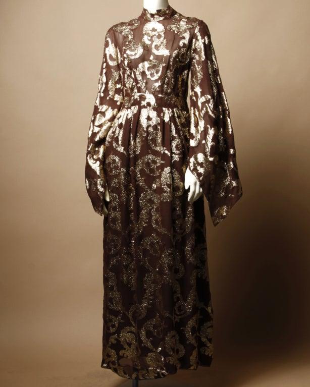 Vintage Pauline Trigere / Saks 5th Ave Metallic Silk Maxi Dress image 2