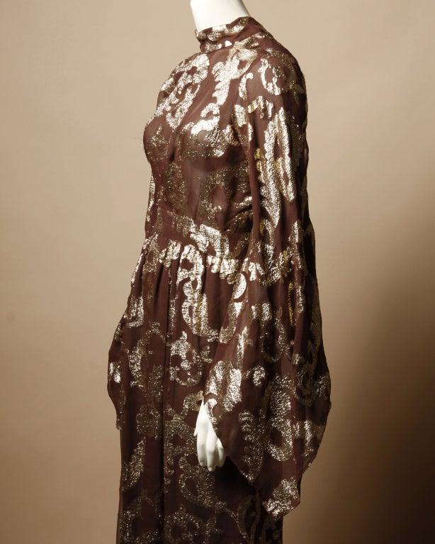 Vintage Pauline Trigere / Saks 5th Ave Metallic Silk Maxi Dress image 3