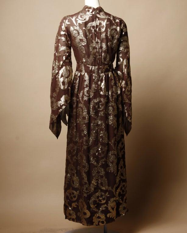 Vintage Pauline Trigere / Saks 5th Ave Metallic Silk Maxi Dress image 4