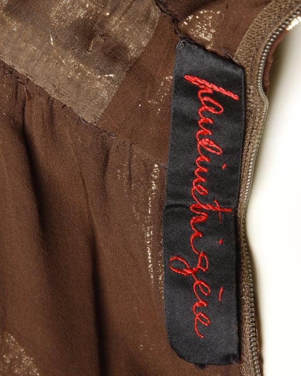 Vintage Pauline Trigere / Saks 5th Ave Metallic Silk Maxi Dress image 5