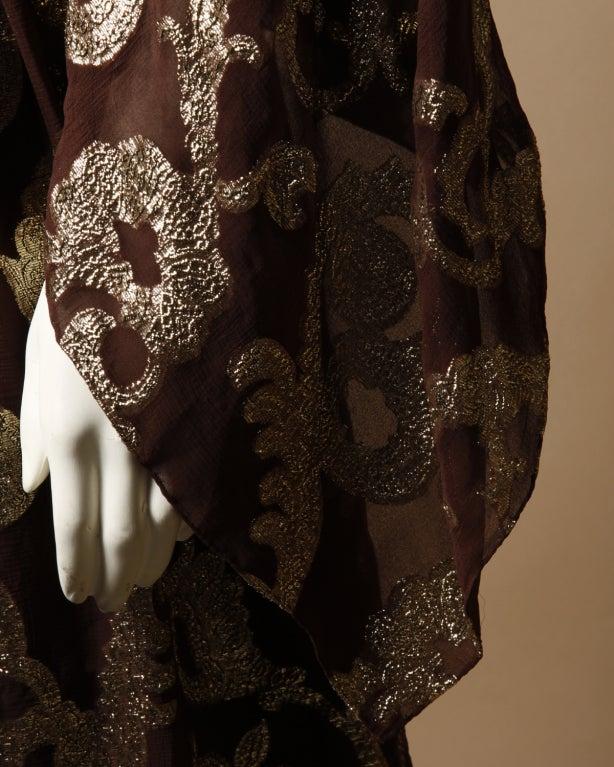Vintage Pauline Trigere / Saks 5th Ave Metallic Silk Maxi Dress image 6
