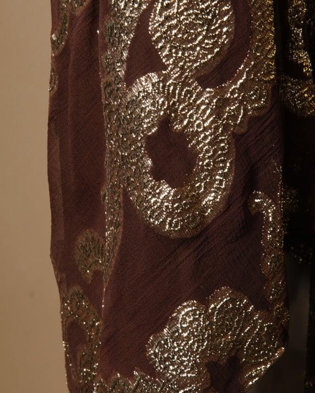 Vintage Pauline Trigere / Saks 5th Ave Metallic Silk Maxi Dress image 8