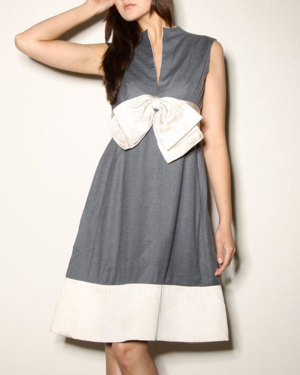 Elinor Simmons for Malcolm Starr Wool + Satin Bow Dress 4