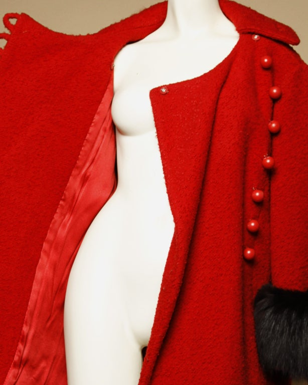 Vintage 1960's Mod Fox Fur Princess Coat image 4