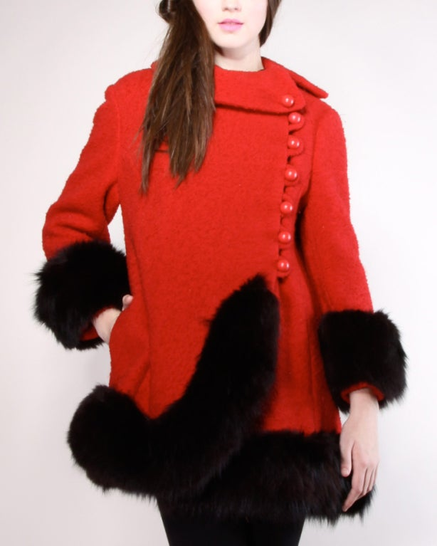 Vintage 1960's Mod Fox Fur Princess Coat image 6