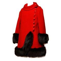 Vintage 1960's Mod Fox Fur Princess Coat