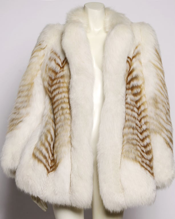 Vintage Feathered Red + White Arctic Fox Fur Jacket image 2