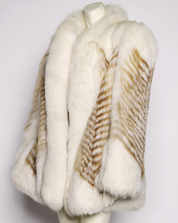 Vintage Feathered Red + White Arctic Fox Fur Jacket image 3