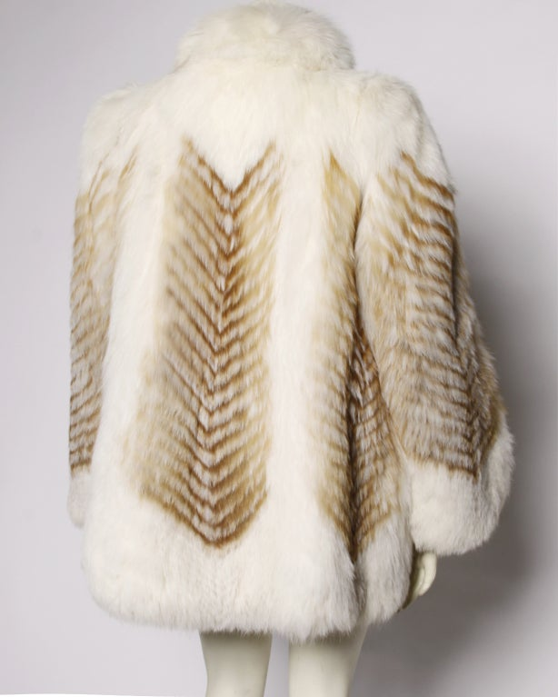 Vintage Feathered Red + White Arctic Fox Fur Jacket image 4
