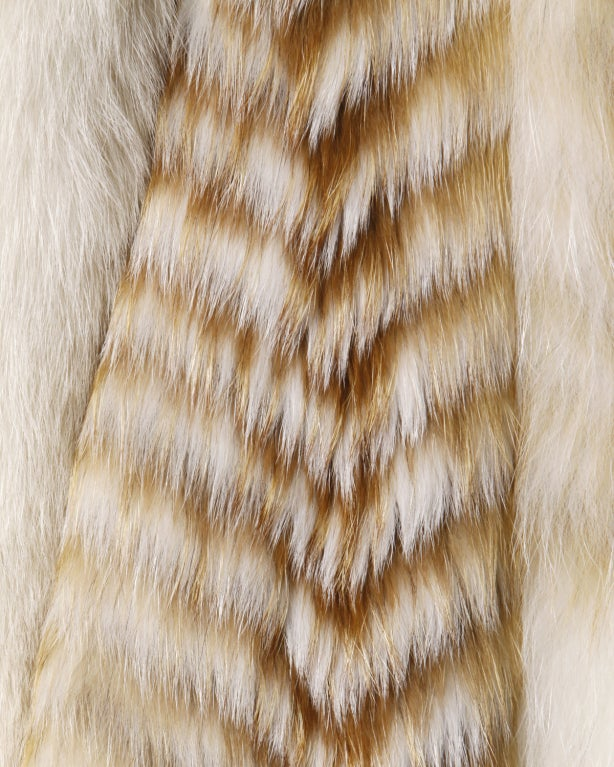 Vintage Feathered Red + White Arctic Fox Fur Jacket image 6