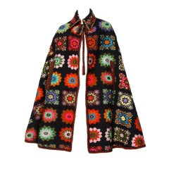 Vintage 1960s Jacquard Folk Art Cape Coat