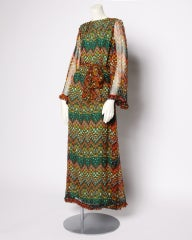 Vintage 1970's Givenchy Silk Chiffon Op Art Maxi Dress thumbnail 2