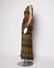 Vintage 1970's Givenchy Silk Chiffon Op Art Maxi Dress thumbnail 3