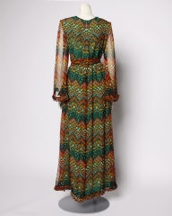Vintage 1970's Givenchy Silk Chiffon Op Art Maxi Dress thumbnail 4