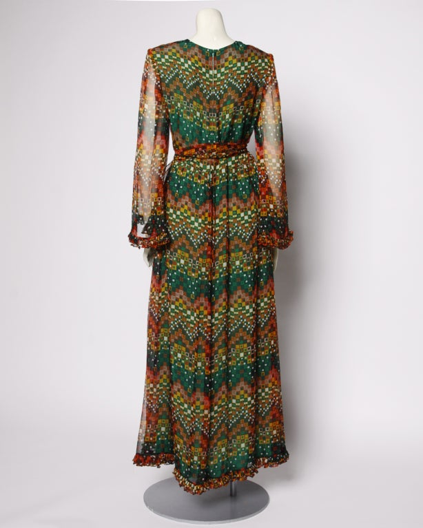 Vintage 1970's Givenchy Silk Chiffon Op Art Maxi Dress image 4