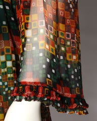 Vintage 1970's Givenchy Silk Chiffon Op Art Maxi Dress thumbnail 6