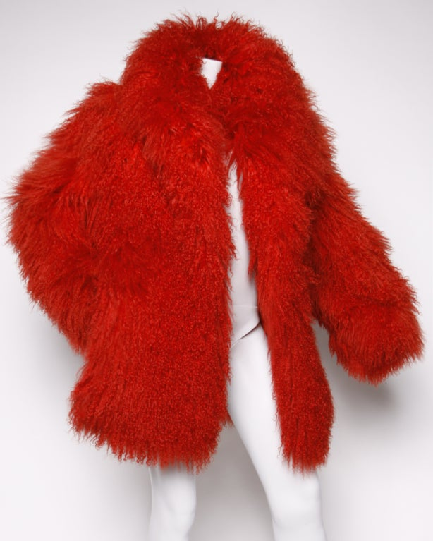 Vintage Shaggy Red Dyed Tibetan/ Mongolian Lamb Fur Coat Jacket at ...
