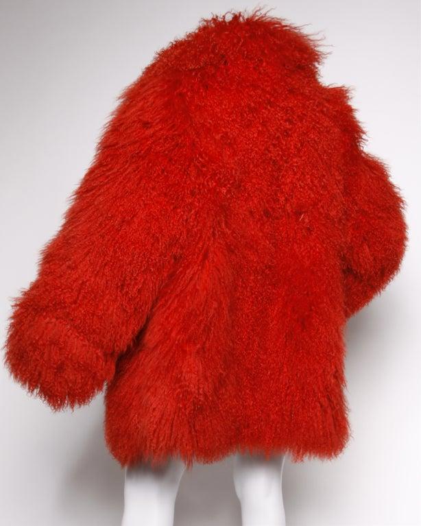 Vintage Shaggy Red Dyed Tibetan/ Mongolian Lamb Fur Coat Jacket For Sale 1