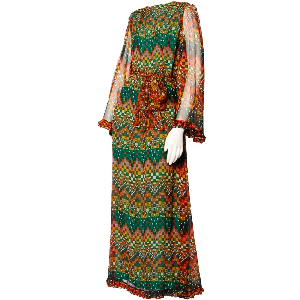 Vintage 1970's Givenchy Silk Chiffon Op Art Maxi Dress